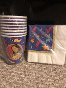 POCAHONTAS VINTAGE 1995 9oz PAPER CUPS (8) & (16) Napkins! Birthday Party