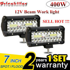 2x 7''Car 400W LED Work Light Bar Spot Flood Beams Combo For Off-road SUV Truck*
