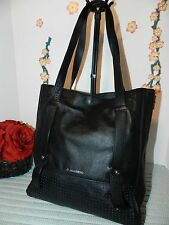 B. MAKOWSKY LARGE BLACK LEATHER SHOPPER'S TOTE CARRYALL  - VGUC