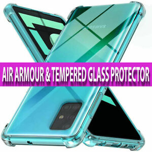 SAMSUNG A50,A70,A20E,A40 CASE CLEAR Silicone Shockproof Cover & Screen Protector