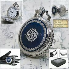 SILVER Antique Blue Enamel Cover Mens Quartz Pocket Watch Gift Fob Chain Box 215