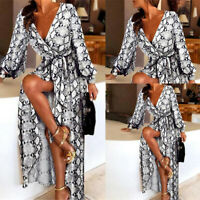 Femme Sexy Serpant Imprimé V Col Robe Casual Manches Longues Party Maxi Robe