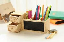 Pen Holder Wooden Pencil Container with Drawer Blackboard School Stationery