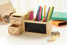 Stylo Support Bois Crayon Récipient Avec Tiroir Tableau Noir École Papeterie