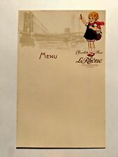Vintage Blank Paper Menu for a French Chocolate Shop w/ Embossed Image