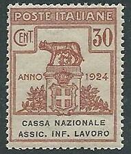 1924 REGNO PARASTATALI CASSA NAZIONALE LAVORO 30 CENT MNH ** - M38