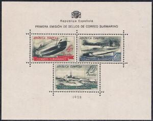 Spain Civic War 1938 Submarine Post SS Block Sheet Gummed Reproduction Stamp sv