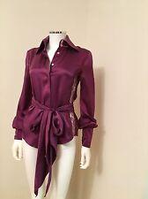 Patrizia Pepe Silk Blouse Italy Small Size 40 Lace Burgundy