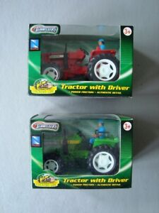 2 x Newray Tractor With Driver ( 1 Red Tractor / 1 Green Tractor )  BOXED