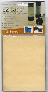 KitchenArt 17000 EZ Spice Label Set, 100-Piece Clear WHITE PRINT FREE USA SHIP