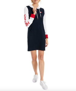 Tommy Hilfiger Women Sky CapitanMulti Heart Sweatshirt Hoodie Dress Size M NWT