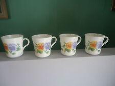 4 corelle corning ware summer blush pansy coffee mugs