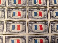 US Sheet: 915 (1943 France WWII Overrun Countries Issue) Sheet of 50 Mint,NH