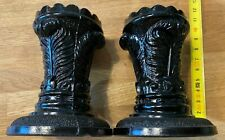 Pair of Vintage (Davidson's?) Black Glass Vase Feathers Pattern 1888