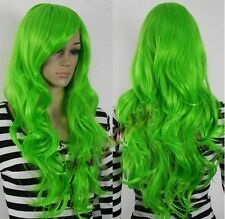 New Stylish Long Green Curly/Wavy Cosplay Party lady's wig +cap AE159