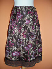 Ann Taylor LOFT Size 8P Espresso Abstract Floral Print Skirt Below the Knee