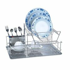 Stainless Steel Double Deck Dish Rack Drainer Drying Tray Cutlery Utensil Holder