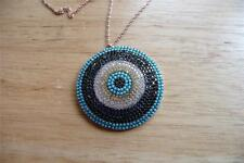 LARGE ROUND BLUE CUBIC ZIRCONIA EVIL EYE 925 SILVER ROSE GOLD CHAIN NECKLACE