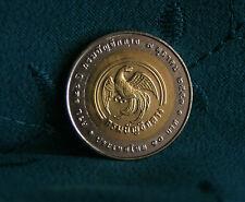 10 Baht Thailand 2011 Unc World Coin 2553 Bi Metallic Comptroller General Y497