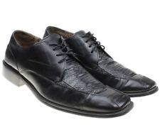 Stacy Adams Mens Sz 11 Black Leather Snakeskin Square Toe Oxfords Dress Shoes