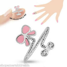 TJS Pink Bow Butterfly Midi Ring Adjustable Toe Finger Knuckle Wrap Clear CZ
