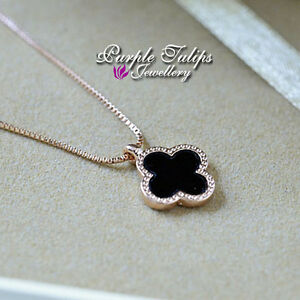 18CT Rose Gold Plated Elegant Black Four Clove Pendant Necklace