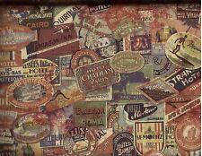 BTY TRAVEL LABELS Print 100% Cotton Quilt Crafting Tim Holtz Fabric by the Yard
