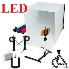 "NEW Studio in a box LED photography lighting 16"" tent backdrops tripod mount kit"