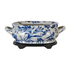 Blue & White Porcelain Foot Bath Basin Chinese Floral Bird Motif w Stand