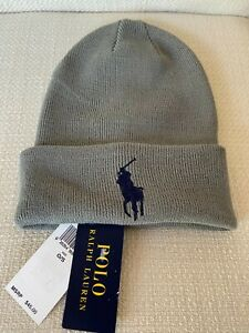 Polo Ralph Lauren Men's Beanie w Embroidered  Big Pony Hat Cap, One Size Gray