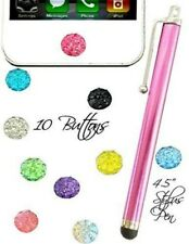 10 Assorted color home button rhinestone stickers fits iphone 3g 4 5 6 & stylus