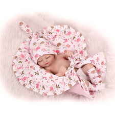 """11"""" Tiny Reborn Baby Dolls Silicone Full body Realistic Mini Girl with Blanket"""