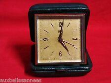 ANCIEN RÉVEIL MÉCANIQUE DE VOYAGE UTI / HORLOGE PENDULE PENDULETTE OLD CLOCK