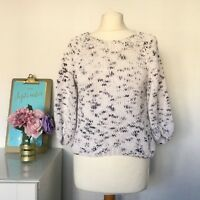 WHISTLES Jumper Size Small CREAM BLUE | Cropped Chunky KNIT Sweater Cotton