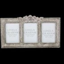 Silver Resin Triple Photo Frame Vintage Antique Style With Roses 34378