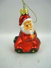 Santa with Car Blown Glass Christmas Tree Ornament