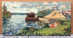 Tableau Huile Impressionniste Paysage Rivière Bateau Arbres 1961 Blondel XXe