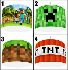 """PIXELS MINING GAME Ceiling Light shade  Lampshade 4 DESIGNS IN 2 SIZES 10"""" 12"""""""