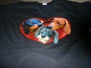 "Dachshunds in a Heart Tee Shirt Tshirt size Medium 38"" V Neck Black"