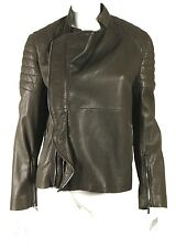 HAIDER ACKERMANN Warm Brown Leather Quilted Panel Motorcycle Jacket 40