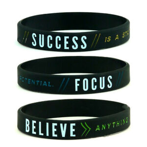 Motivational Success Focus Believe Wristbands Men Bracelet Silicone Band Bangle