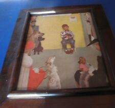 Vintage Picture Norman Rockwell Boy and Sick Dog - 18.5x15.5 with wood frame