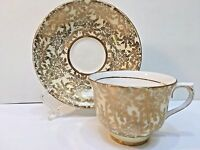 Colclough Bone China Teacup & Saucer England Yellow w/Gold Flowers