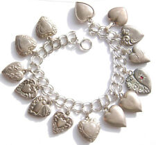 1940s Puffy Heart Sterling Charm Bracelet - 18 Hearts - 1 Enameled - 8 Engraved