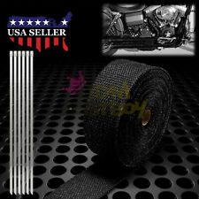 """Black Exhaust Pipe Insulation Thermal Heat Wrap 2"""" x 50' Motorcycle Header"""