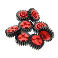 8 x Lego System Rad rot schwarz Felge 2x2 Noppen Technic Pin Loch Reifen Räder k
