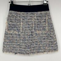 New J. Crew Womens Skirt Blue Tweed Front Pockets Zip Back Size 00 Petite
