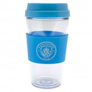 Manchester City FC Clear Silicone Grip Travel Mug Tea Coffee  Official Product