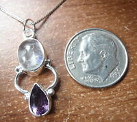 Faceted Amethyst and Moonstone 925 Sterling Silver Pendant Corona Sun Jewelry