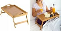 Bamboo Wooden Bed Tray w/ Folding Legs Serving Breakfast Lap Tray Table Mate OZ